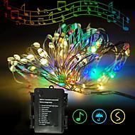 povoljno -vodio bakrene žice llghts zvuk aktiviran glazba sync bajke 10m 100led 11modes toplo bijele ukrasne svjetiljke za Halloween Božić vodootporan novi dizajn party 3aa baterije