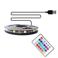 povoljno -2m tv pozadinska svjetlosna traka fleksibilne LED svjetlosne trake / rgb svjetla trake 60 led smd5050 10 mm 1 daljinski upravljač 1 taster 1 set višebojni vodootporan / usb / samoljepljivi 5 v