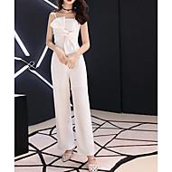 Χαμηλού Κόστους -Ολόσωμη φόρμα Λουριά Μακρύ Πολυεστέρας Φόρεμα Παρανύμφων με Φιόγκος(οι) / Πλισέ