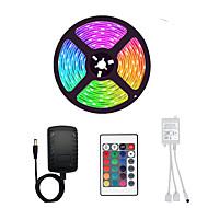 Χαμηλού Κόστους -5m Ευέλικτες LED Φωτολωρίδες / Σετ Φώτων / Φωτολωρίδες RGB 300 LEDs SMD3528 8mm 1 24Keys Τηλεχειριστήριο / 1 x 2A τροφοδοτικό 1set Πολύχρωμα Αδιάβροχη / Μπορεί να κοπεί / Πάρτι 12 V