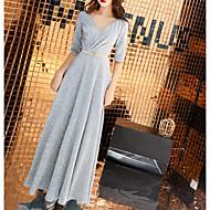 Χαμηλού Κόστους -Γραμμή Α Λαιμόκοψη V Μακρύ Πολυεστέρας Φόρεμα Παρανύμφων με Πούλιες