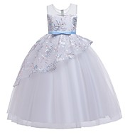 Χαμηλού Κόστους -Πριγκίπισσα Μακρύ Βαμβάκι Φόρεμα Νεαρών Παρανύμφων με Φιόγκος(οι) / Βαθμίδες / Κέντημα
