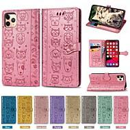 저렴한 -Apple iPhone 11 / iPhone 11 Pro / iPhone 11 Pro Max 지갑 / 카드 홀더 / 스탠드 전체 바디 케이스 솔리드 / 동물 PU 가죽 용 iPhone XR / XS Max / X / 7 / 8 Plus / 6 / 6S Plus