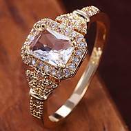 cheap -Women's Ring Belle Ring AAA Cubic Zirconia 1pc Yellow Copper Gold Plated Irregular Statement Luxury Party Evening Gift Jewelry Geometrical Wearable
