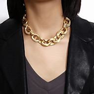 cheap -Women's Choker Necklace Chain Necklace Statement Necklace Stacking Stackable XOXO Vertical / Gold bar Precious Statement Simple Basic Punk Gold Plated Chrome Gold 41+7 cm Necklace Jewelry For