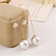 cheap -Women's Hoop Earrings Classic Fashion Stylish Imitation Pearl Earrings Jewelry Gold For Gift Festival 1 Pair
