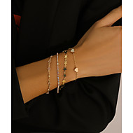 cheap -4pcs Women's Layered Star Classic Punk Fashion Iron Bracelet Jewelry Gold For Gift Festival