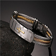 cheap -Men's Chain Bracelet Braided Cross Fashion Titanium Steel Bracelet Jewelry Gold For Party Evening Gift
