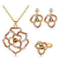 cheap -Women's Cubic Zirconia Jewelry Set Classic Flower Stylish Imitation Diamond Earrings Jewelry Gold For Party Evening Festival 1 set