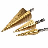 cheap -Pagoda metal bit 4-12mm 4-20mm 4-32mm Step Cone Drill Bit Hole Cutter Dint Tool Hex Shank Step Drills shank Coated Metal Drill Bit 3pcs