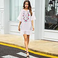 povoljno -Žene Ljetna haljina Mini haljina - Rukava do lakta Cvjetni print Rese Ljeto Ležerne prilike mumu 2020 Obala S M L XL