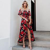 povoljno -Žene Swing haljina Maks haljina - Kratkih rukava Cvjetni print Ljeto mumu 2020 Crn Red Fuksija Navy Plava S M L XL