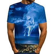 povoljno -Muškarci Grafika Krajolik Plava Print Majica s rukavima Osnovni pretjeran Dnevno Plava