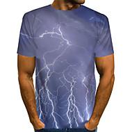 povoljno -Muškarci Sažetak Grafika Blue & White Print Majica s rukavima Osnovni pretjeran Dnevno Sive boje