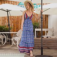 povoljno -Žene Ljetna haljina Maks haljina - Bez rukávů Geometrijski oblici Ljeto Vintage Boho 2020 Navy Plava S M L XL