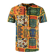 Men's T-shirt Graphic Tops Linen Basic Street chic Round Neck Yellow / Short Sleeve