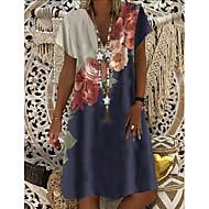 Women's Shift Dress Knee Length Dress - Short Sleeves Floral Print Summer V Neck Casual Daily 2020 Blue M L XL XXL XXXL