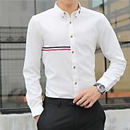 זול -בגדי ריקוד גברים חולצה פסים צמרות בסיסי לבן
