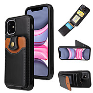 cheap -Case For Apple iPhone 6 6s 7 8 6plus 6splus 7plus 8plus X XR XS XSMax SE(2020) iPhone 11 11Pro 11ProMax Card Holder Shockproof Back Cover Solid Colored PU Leather TPU