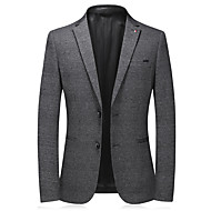 cheap -Men's Single Breasted Notch lapel collar Blazer Solid Colored Gray XL / XXL / XXXL