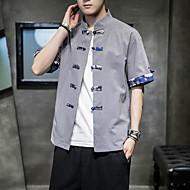 זול -בגדי ריקוד גברים חולצה קולור בלוק צמרות בסיסי לבן שחור כחול נייבי