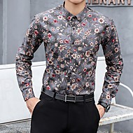 זול -בגדי ריקוד גברים חולצה פרחוני צמרות פול חום