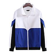 お買い得  -男性用 スウェットシャツ カラーブロック ベーシック パーカー トレーナー ブラック ブルー