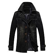 Недорогие -Муж. Джинсовая куртка Обычная Однотонный Повседневные Классический Черный / Синий US32 / UK32 / EU40 / US34 / UK34 / EU42 / US36 / UK36 / EU44