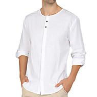 Недорогие -Муж. Рубашка Однотонный Верхушки Белый Черный Синий