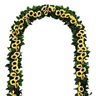 Недорогие -30led 2,4 м искусственная гирлянда из подсолнечника, шелковые искусственные цветы, листья плюща, растения, домашний декор, цветочный настенный венок