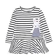 cheap -Kids Girls' Sweet Black & White Striped Print Long Sleeve Above Knee Dress White