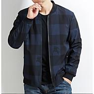 お買い得  -男性用 ジャケット レギュラー カラーブロック チェック 日常 ワーク ベーシック 長袖 ブラック / ブルー L / XL / XXL
