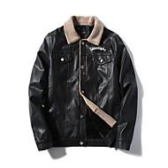 Недорогие -Муж. Куртка Обычная Однотонный Повседневные Офис Классический Черный L / XL / XXL