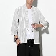 זול -בגדי ריקוד גברים חולצה פסים צמרות בסיסי לבן שחור אפור