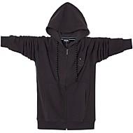 Недорогие -Муж. Толстовка с капюшоном и пуловером Однотонный Классический Толстовки Толстовки Черный Зеленый Темно синий