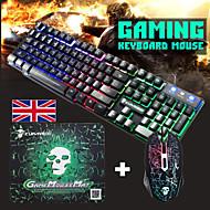 お買い得  -T6 USB有線マウスキーボードコンボゲーミングマウスパッド耐流出ゲーミングキーボード/マルチメディアキーボードゲーミング発光防水ゲーミングマウスオフィスマウス2400 dpi