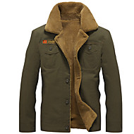 Недорогие -Муж. Куртка Обычная Однотонный Повседневные Классический Черный / Военно-зеленный / Хаки US32 / UK32 / EU40 / US34 / UK34 / EU42 / US36 / UK36 / EU44