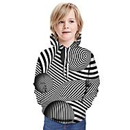 cheap -Kids Boys' Basic Black & White Striped Long Sleeve Hoodie & Sweatshirt Black