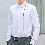 זול -בגדי ריקוד גברים חולצה אחיד צמרות בסיסי לבן