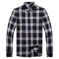 お買い得  -男性用 シャツ チェック トップの ベーシック ブラック ルビーレッド イエロー