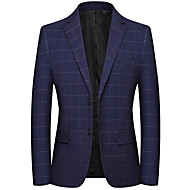 お買い得  -男性用 シングルブレスト ノッチドラペル ブレザー ソリッド ブルー XL / XXL / XXXL