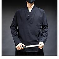 זול -בגדי ריקוד גברים חולצה אחיד צמרות בסיסי שחור בז'