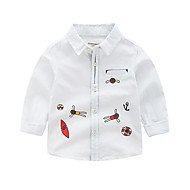 cheap -Kids Boys' Basic White Blue Geometric Print Long Sleeve Shirt White