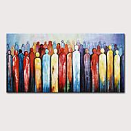 Недорогие -Hang-роспись маслом Ручная роспись - Абстракция Люди Modern Без внутренней части рамки (без рамы)