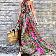 Women's Swing Dress Maxi long Dress Green Sleeveless Floral Print Fall Halter Neck Elegant Casual vacation dresses 2021 S M L XL XXL