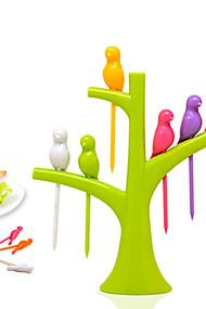 abordables -6pcs oiseaux sur le set d'outils de cuisine dessert arbre fruitier fourche