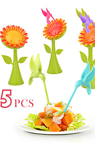 abordables -Plastique Simple Fourchette à fruits, Haute qualité 5pcs