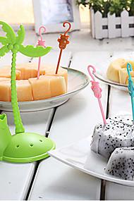 abordables -Plastique Simple Fourchette à fruits, Haute qualité 6pcs