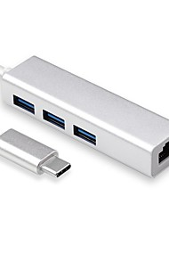 cheap -USB-C to   Gigabit Ethernet USB A 3.0 Adapter Hub for USB C Type-C Thunderbolt 3 MacBook/MacBook Pro Dell XPS 13 HP Spectre x2 and More(Silver Aluminum)  (USB C to 3USB Gigabit Ethernet)