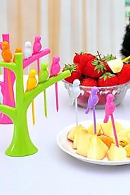 abordables -6pcs fourchettes à fruits en forme d'oiseau décorations pour la maison outil de cuisine